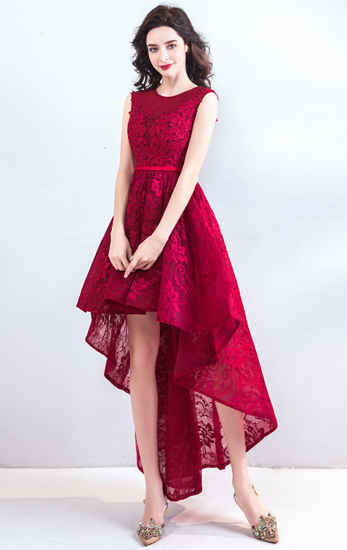 Latest A-line Red Evening Dress Round Neck Lace High Low Formal Dress LFNC0299