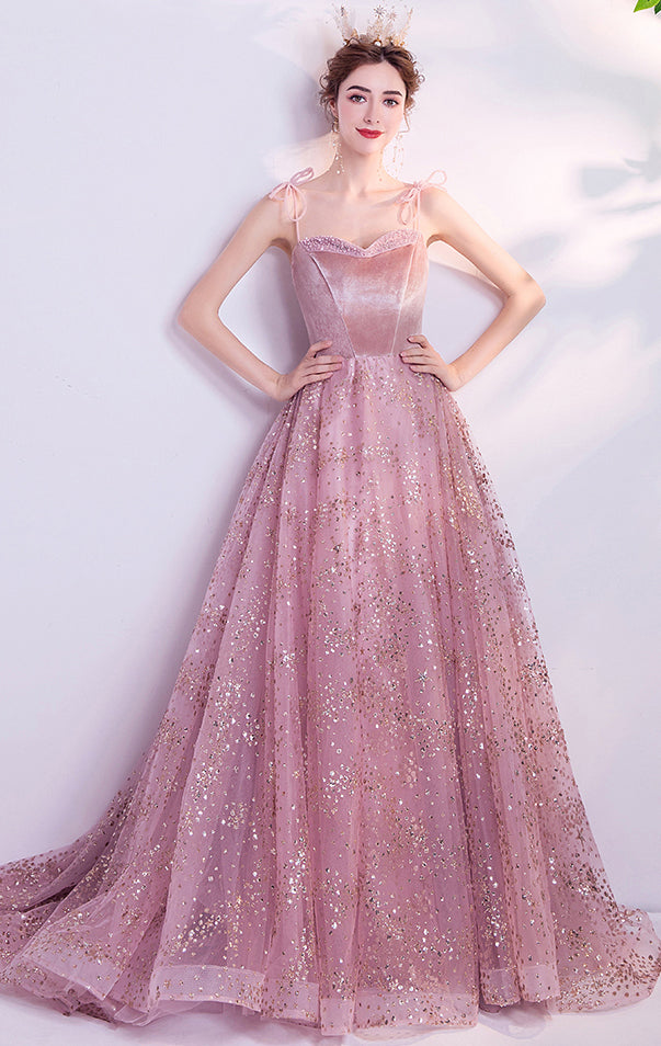 Elegant A-line Pink Evening Dress Straps Organza Long Formal Dress LFNC0202