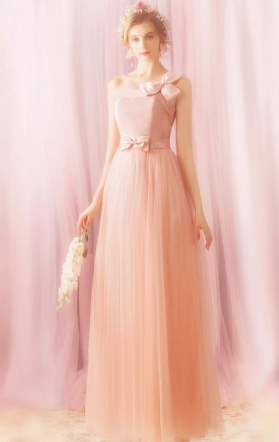 Elegant A-line Pink Evening Dress One Shoulder Tulle Long Formal Dress LFNC0269