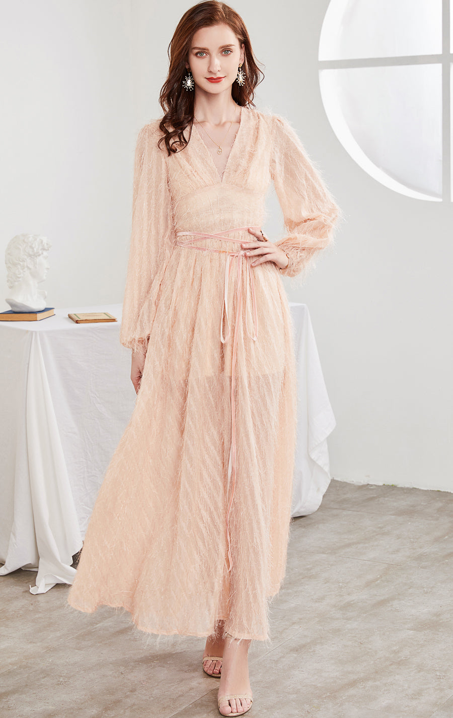 Gorgeous A-line Pink Evening Dress V Neck Chiffon Tassel Long Formal Dress LFNC0116