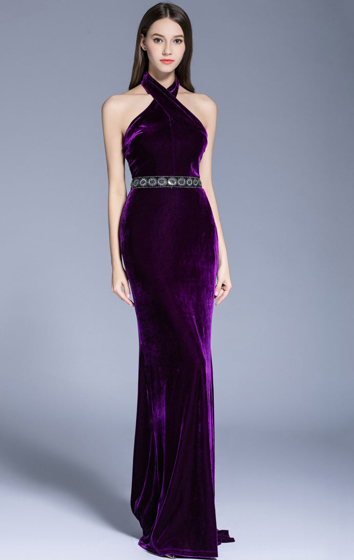 Elegant Mermaid Purple Evening Dress Halter Velvet Long Formal Dress LFNC0127