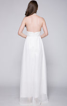 Load image into Gallery viewer, Latest A-line White Evening Dress Halter Lace Long Formal Dress LFNC0092