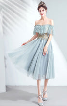 Load image into Gallery viewer, Gorgeous A-line Blue Green Evening Dress Off Shoulder Organza Short Formal Dress LFNC0244