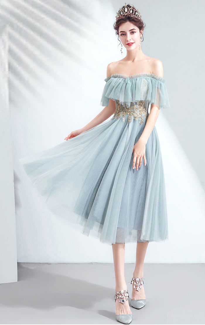 Gorgeous A-line Blue Green Evening Dress Off Shoulder Organza Short Formal Dress LFNC0244