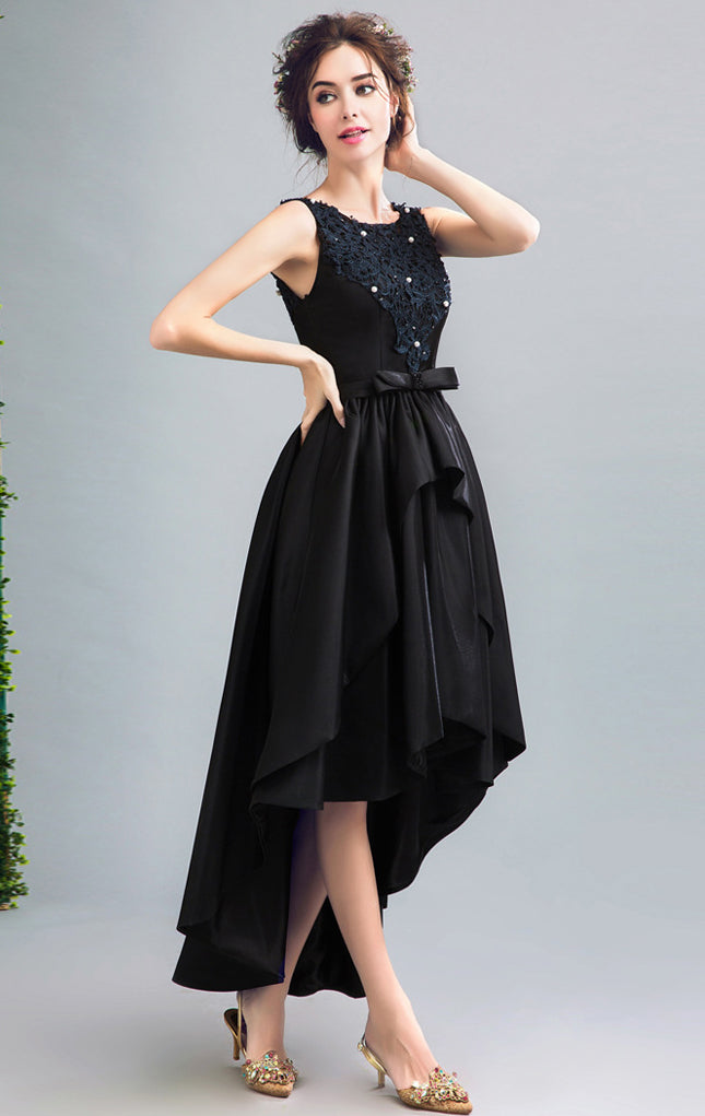 Gorgeous A-line Black Evening Dress Round Neck Satin High Low Formal Dress LFNC0239