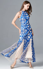 Load image into Gallery viewer, Elegant Mermaid Blue Evening Dress Halter Tulle Long Formal Dress LFNC0062