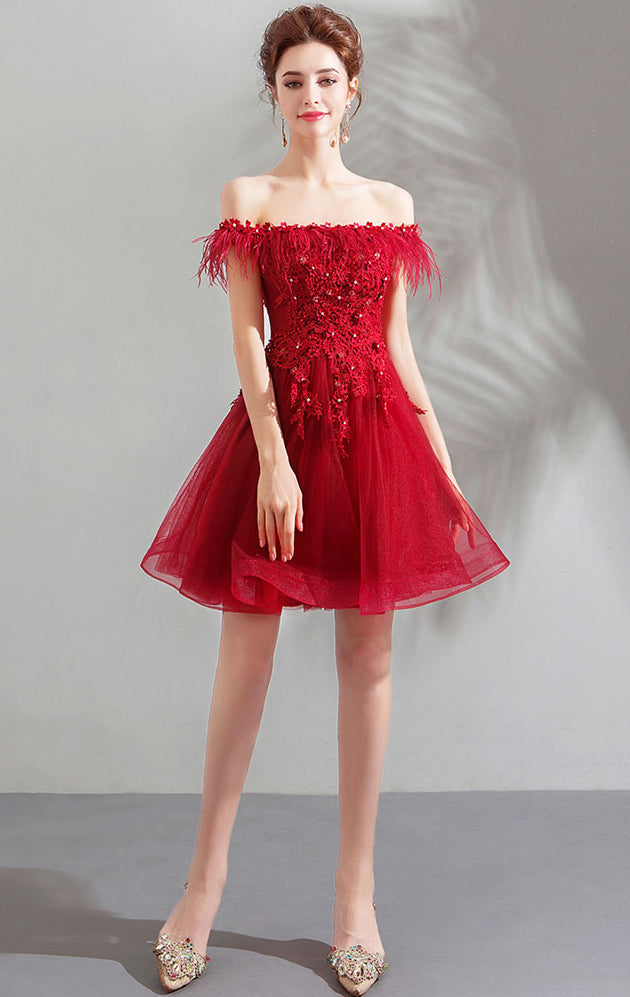 Simple A-line Red Evening Dress Off Shoulder Feather Short Formal Dress LFNC0173