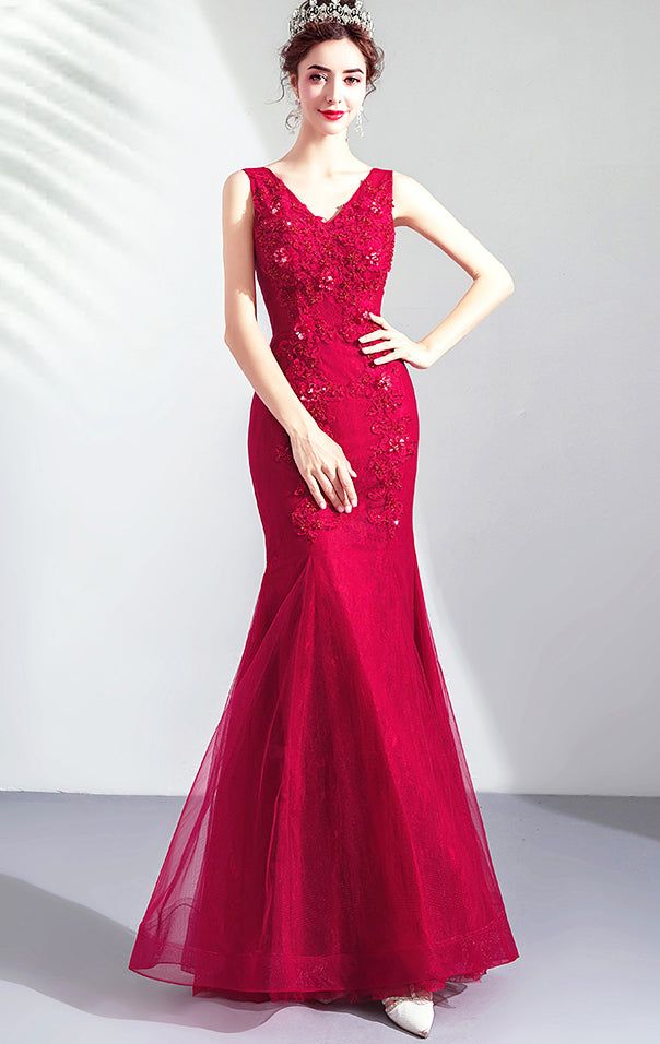 Newest Mermaid Red Evening Dress V Neck Lace Long Formal Dress LFNC0289