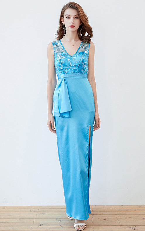 Simple Mermaid Blue Evening Dress V Neck Satin Long Formal Dress LFNC0137