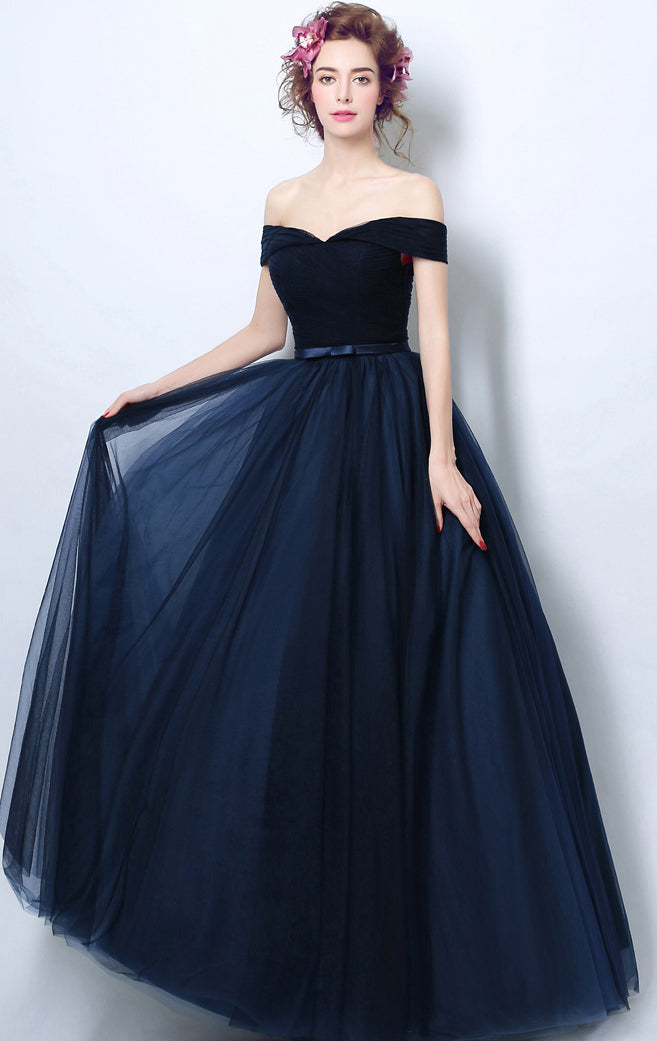 Simple A-line Navy Blue Bridesmaid Dress Off Shoulder Organza Long Formal Dress LFNC0166