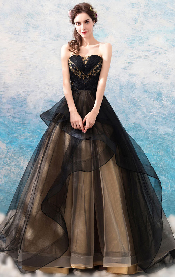 Beautiful A-line Black Evening Dress Sweatheart Neck Tulle Long Formal Dress LFNC0270