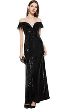 Load image into Gallery viewer, Beautiful A-line Black Evening Dress Round Neck Sequins Long Formal Dress LFNC0120