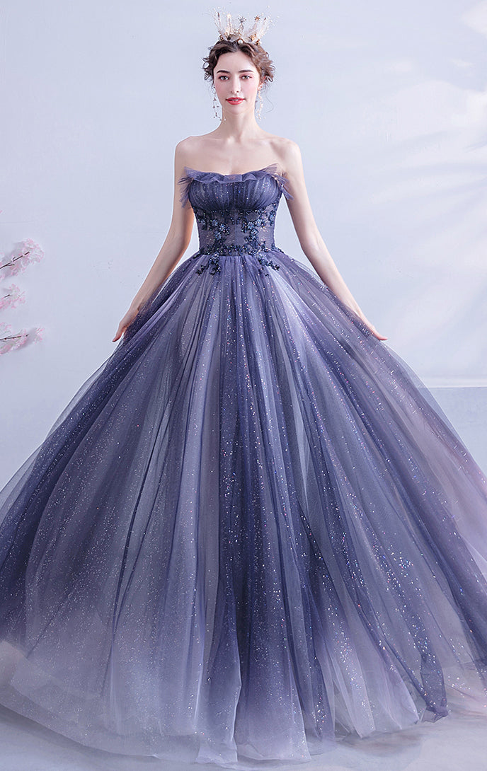 Newest A-line Gradient Blue Evening Dress Sweatheart Neck Organza Long Formal Dress LFNC0223