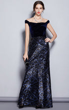 Load image into Gallery viewer, Gorgeous A-line Navy Blue Evening Dress Off Shoulder Velvet Long Formal Dress LFNC0118