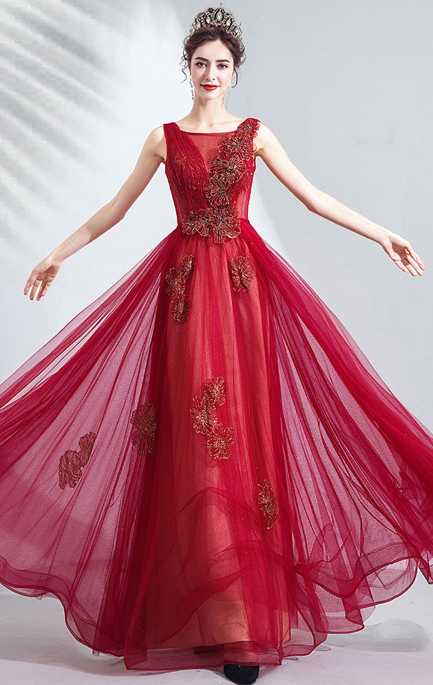 Gorgeous A-line Red Evening Dress V Neck Organza Long Formal Dress LFNC0185