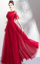 Load image into Gallery viewer, Elegant A-line Red Evening Dress Round Neck Tulle Long Formal Dress LFNC0294