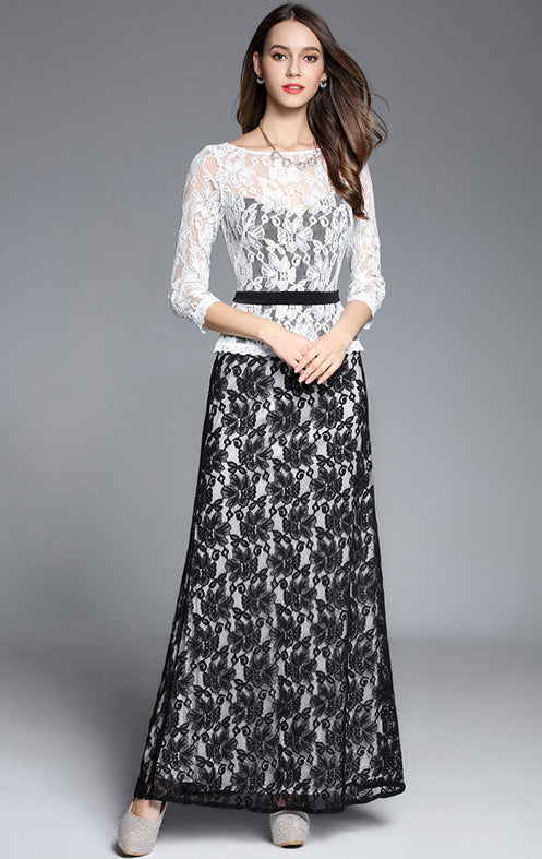 Online A-line White Long Sleeve Lace Long Formal Dress LFNC0036