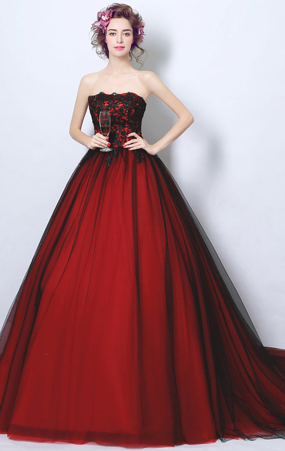 Beautiful A-line Red Evening Dress Strapless Tulle Long Formal Dress LFNC0295