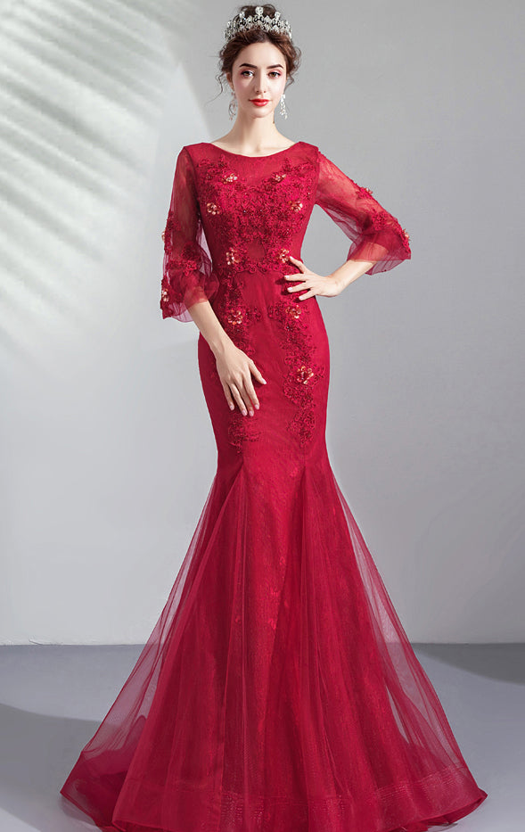 2021 Mermaid Red Evening Dress Round Neck Tulle Long Formal Dress LFNC0271