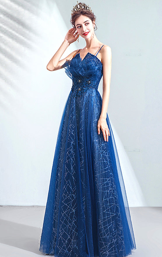 Gorgeous A-line Blue Evening Dress Straps Organza Long Formal Dress LFNC0146