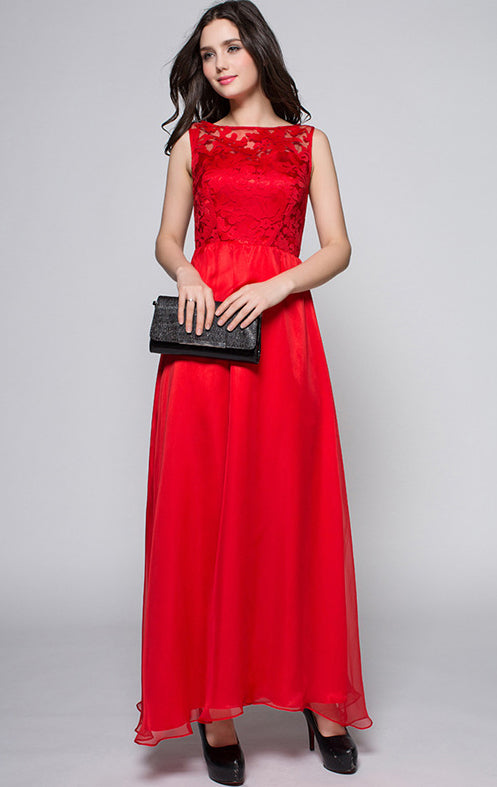 Newest A-line Red Sleeveless Lace Long Formal Dress LFNC0033