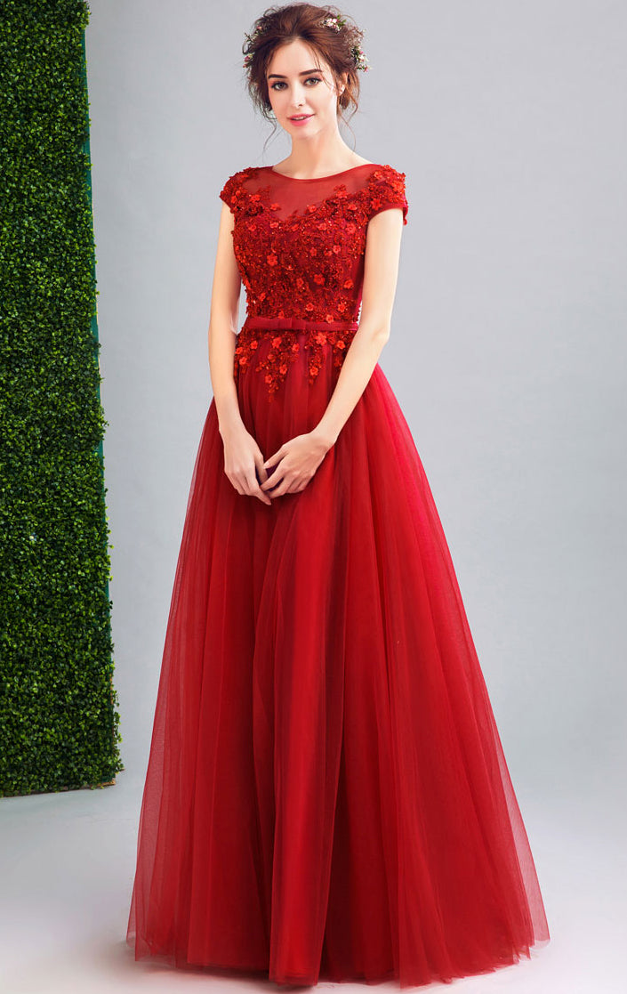 Newest A-line Red Evening Dress Round Neck Organza Long Formal Dress LFNC0208