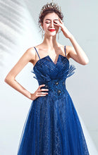Load image into Gallery viewer, Gorgeous A-line Blue Evening Dress Straps Organza Long Formal Dress LFNC0146