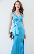 Load image into Gallery viewer, Simple Mermaid Blue Evening Dress V Neck Satin Long Formal Dress LFNC0137