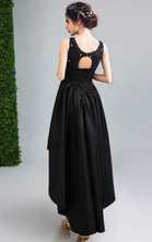 Load image into Gallery viewer, Gorgeous A-line Black Evening Dress Round Neck Satin High Low Formal Dress LFNC0239