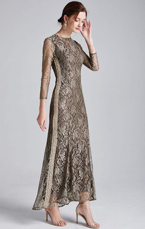 Simple A-line Brown Long Sleeve Lace Long Formal Dress LFNC0028