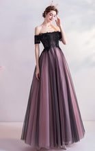 Load image into Gallery viewer, 2021 A-line Black Evening Dress Off Shoulder Organza Long Formal Dress LFNC0257