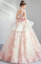 Load image into Gallery viewer, Gorgeous A-line Pink Evening Dress Round Neck Organza Ball Gown LFNC0175