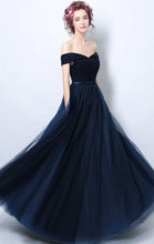 Load image into Gallery viewer, Simple A-line Navy Blue Bridesmaid Dress Off Shoulder Organza Long Formal Dress LFNC0166