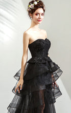 Load image into Gallery viewer, Simple A-line Black Evening Dress Strapless Tulle High Low Formal Dress LFNC0152