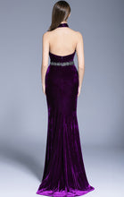 Load image into Gallery viewer, Elegant Mermaid Purple Evening Dress Halter Velvet Long Formal Dress LFNC0127