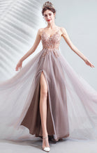 Load image into Gallery viewer, Beautiful A-line Pink Evening Dress Straps Organza Long Formal Dress LFNC0143