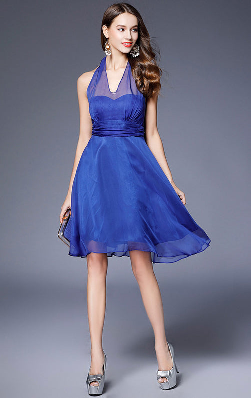 Newest A-line Blue Bridesmaid Dress Halter Chiffon Short Formal Dress LFNC0111