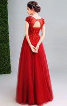 Load image into Gallery viewer, Newest A-line Red Evening Dress Round Neck Organza Long Formal Dress LFNC0208