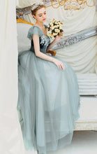 Load image into Gallery viewer, Gorgeous A-line Green Evening Dress Square Collar Organza Long Formal Dress LFNC0267