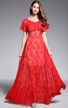 Load image into Gallery viewer, Elegant A-line Red Short Sleeve Lace Long Formal Dress LFNC0034