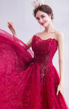 Load image into Gallery viewer, 2021 A-line Red Evening Dress Strapless Organza Long Formal Dress LFNC0145