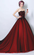 Load image into Gallery viewer, Beautiful A-line Red Evening Dress Strapless Tulle Long Formal Dress LFNC0295
