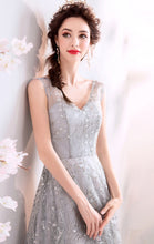 Load image into Gallery viewer, Beautiful A-line Grey Evening Dress V Neck Organza Long Formal Dress LFNC0249