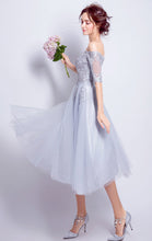 Load image into Gallery viewer, Gorgeous A-line Grey Evening Dress Off Shoulder Tulle Short Formal Dress LFNC0273