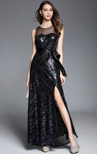 Load image into Gallery viewer, Cheap Mermaid Navy Blue Sleeveless Sequins Long Formal Dress LFNC0035