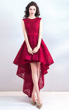 Load image into Gallery viewer, Latest A-line Red Evening Dress Round Neck Lace High Low Formal Dress LFNC0299
