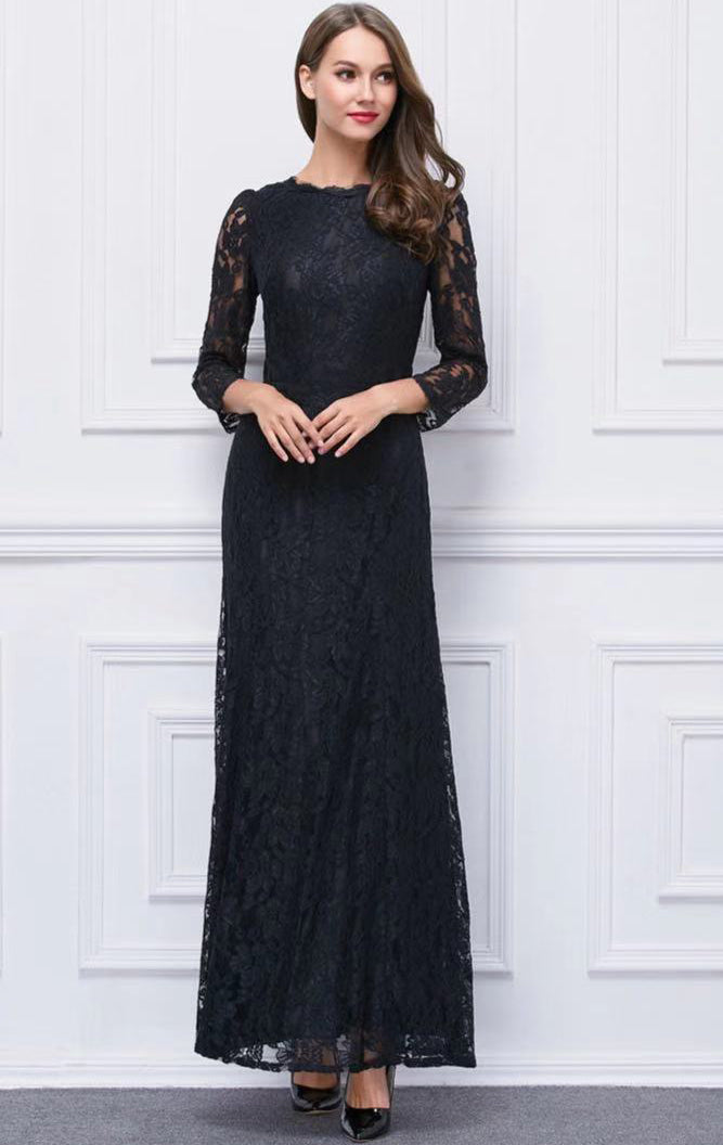 Simple A-line Black Evening Dress Long Sleeve Lace Long Formal Dress LFNC0082