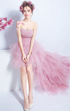 Load image into Gallery viewer, Elegant A-line Pink Evening Dress Sweatheart Neck Organza High Low Formal Dress LFNC0164