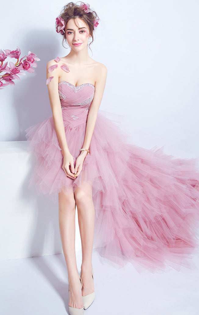 Elegant A-line Pink Evening Dress Sweatheart Neck Organza High Low Formal Dress LFNC0164