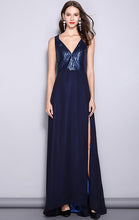 Load image into Gallery viewer, Online A-line Blue Evening Dress V Neck Sequins Long Formal Dress LFNC0104